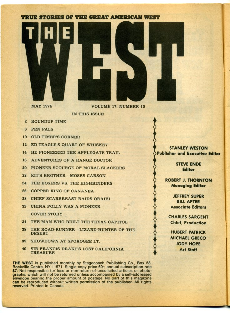 Magazines - Old West - Stringers Books and Ephemera